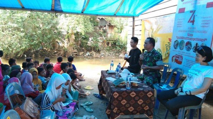 Kapten Arm Eddy Edukasi Anti Narkoba kepada Anak-anak Pinggiran Sungai Deli