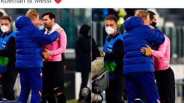Ada arti mendalam di balik pelukan megabintang Barcelona, Lionel Messi, dengan pelatih Barca, Ronald Koeman, seusai menggilas Juventus di Liga Champions.