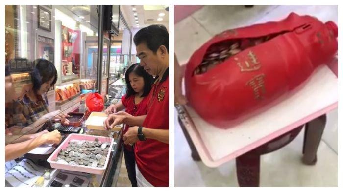 Mengharukan, Pria Ini Bawa Ratusan Koin Untuk Hadiah untuk Istri, Netizen Iri!