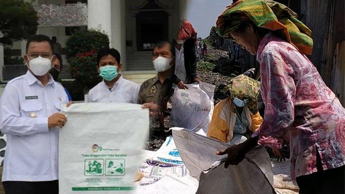 Kolase foto poltak sitorus terima karung goni PT TPL dan warga mengumpulkan karung untuk disumbangkan.