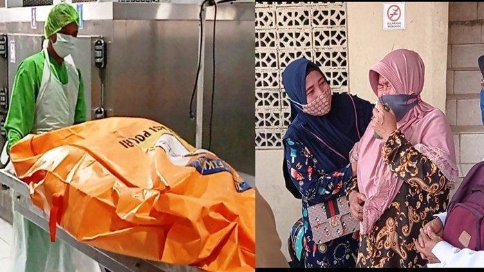 Amidah (57) ibu kandung Yuliana (25) tak kuasa menahan tangis setibanya ia di instalasi forensik rumah sakit M Hasan Palembang untuk melihat jenazah anaknya, Rabu (6/1/2021). (TRIBUNSUMSEL.COM/SHINTA DWI ANGGRAINI)