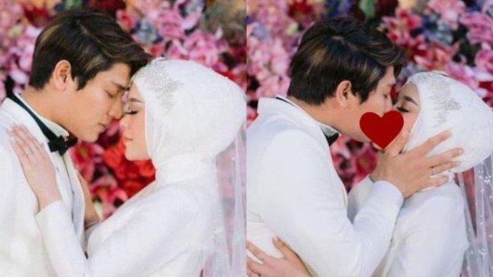 Kolase kemesraan Rizky Billar dan Lesti Kejora saat acara tasyakuran pernikahan, Selasa (31/8/2021). Rizky Billar membuat heboh dengan mengunggah fotonya saat mencium Lesti. (Instagram @rizkybillar)