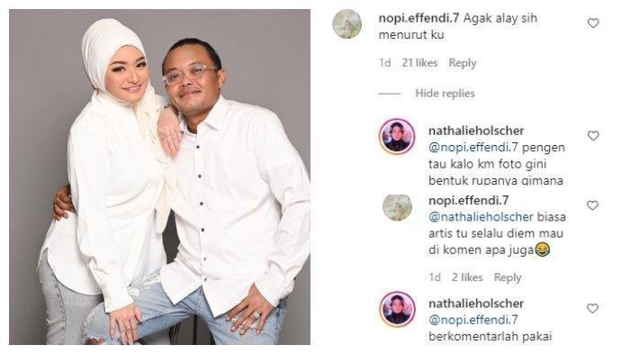 Kolase Nathalie Holscher menanggapi netizen julid, Kamis (11/2/2021).
