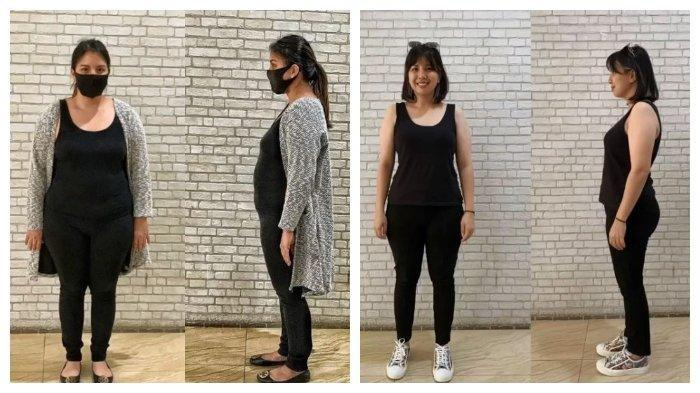 Kolase potret Tya Ariestya sebelum dan sesudah diet