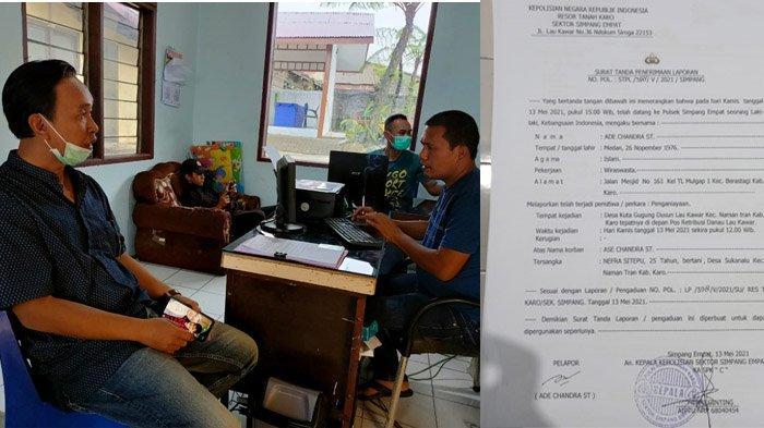 Keluarga Andre Chandra melapor ke Polsek Simpang Empat, Kecamatan Naman Tran, Kabupaten Karo, Kamis (13/5/2021) lalu, terkait kasus penganiayaan gara-gara tak mau bayar pungli di lokasi wisata Lau Kawar.