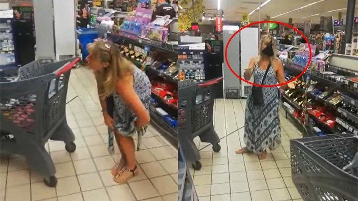 Momen Mengejutkan Wanita Pengunjung Supermarket Lepas Celana Dalam depan Umum Lalu Dijadikan Masker