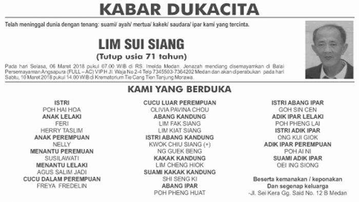 BERITA DUKACITA: Telah Meninggal dengan Tenang Lim Sui Siang