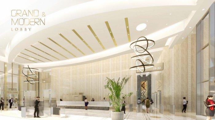 Lobby Premium Office Tower dengan ceiling yang tinggi terlihat megah dan modern yang didesain oleh DYXY, Los Angeles, California, USA