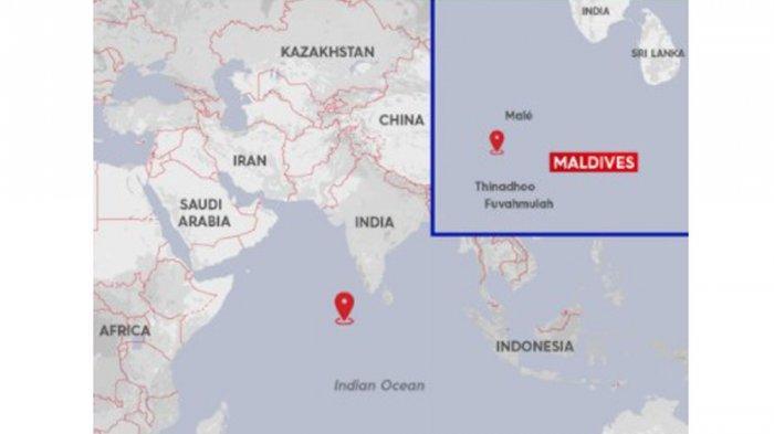 Lokasi jatuhnya puing roket China Long March 5B di Samudra India dekat perairan Maladewa