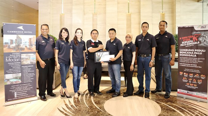 Cambridge Hotel Medan Berikan Donasi untuk Korban Bencana Alam di Palu, Donggala dan Sigi