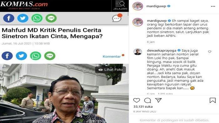 DS Sentil Mahfud MD, Malah Ngurusi Sinetron Ikatan Cinta, Laman IG Bossman Ramai Komentar Menohok