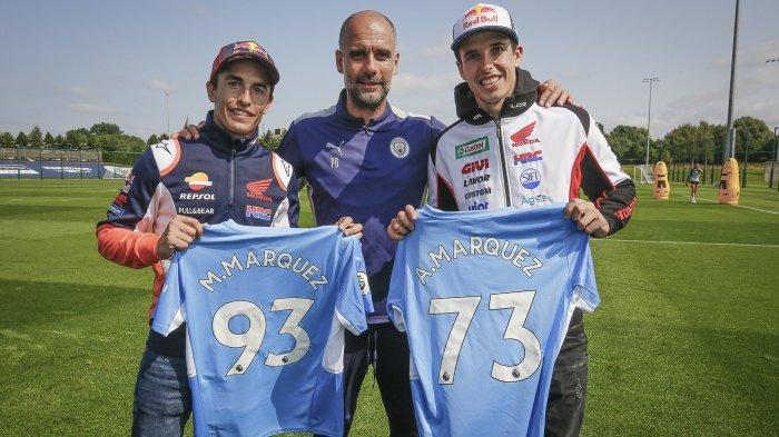 JELANG MotoGP Inggris 2021, Marquez ke Markas Man City, Bertemu Pep Guardiola, Ungkap Pensiun