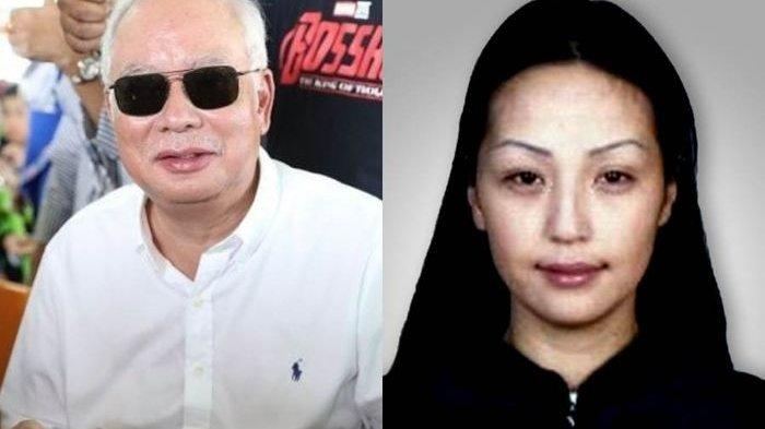 Najib Razak dan model Mongolia yang diduga sebagai simpanannya.
