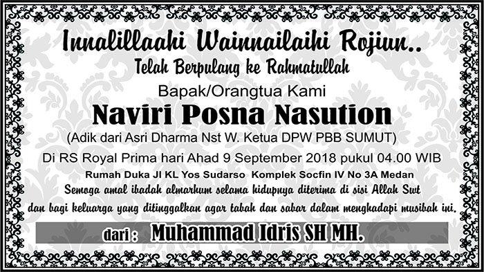 BERITA DUKACITA: Telah Berpulang ke Rahmatullah Naviri Posna Nasution