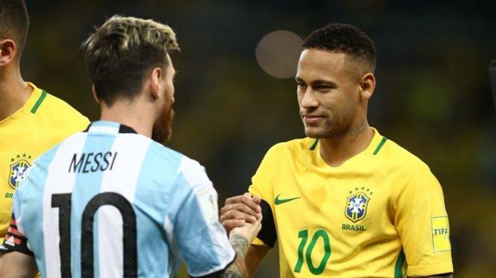 Neymar dan Messi jabat tangan saat pertemuan Argentina vs Brasil