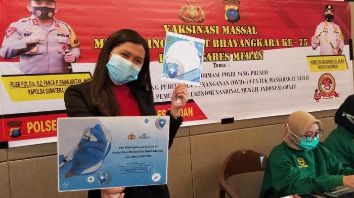 Karyawan Hotel GranDhika Setiabudi Medan menggelar vaksinasi Covid-19 yang dilaksanakan pada Sabtu (26/6/2021) di Ruang Gaharu Hotel GranDhika Setiabudi Medan.