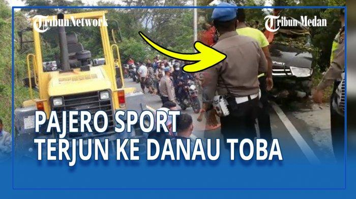 Pajero Sport BK 1490 JM terjun ke Danau Toba di Jalan Lintas Tele-Pangururan, Kamis (3/6/21) sekira pukul 15.00 WIB.