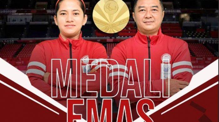 Pasangan mixed double SL3 SU5 para badminton Leani Ratri Oktila-Hary Susanto berhasil menorehkan sejarah emas kedua untuk Timnas Indonesia di ajang Paralimpiade/ NPC Indonesia. (TRIBUN MEDAN/IST)