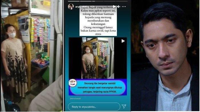 Viral Tangis Pedagang Hamil Warungnya Kena Razia PPKM, Hati Arya Saloka Terketuk: Tolong