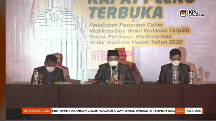 KPU Medan Resmi Tetapkan Bobby Nasution-Aulia Rachman Pasangan Wali Kota Terpilih