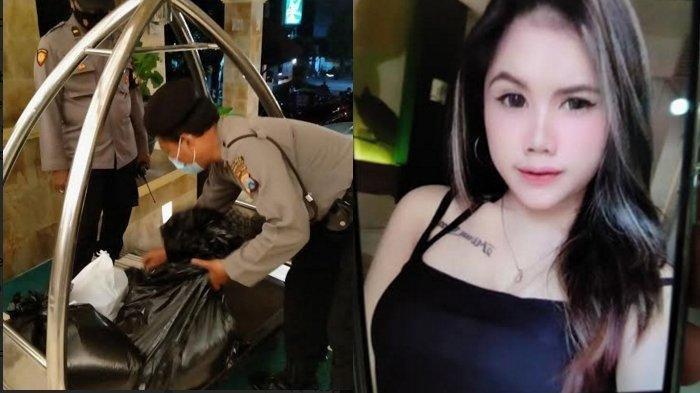 Polisi saat mengumpulkan barang bukti dri TKP pembunuhan Mira Yura di hotel Lotus Kediri dan foto korban semasa hidup
