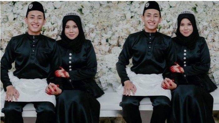 Nabilah dan Hanif nekat nikah pakai busana warna hitam di pesta pernikahan.