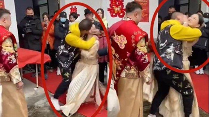Seorang pengantin wanita dicium paksa oleh tamu pria, namun suaminya hanya melihatnya sambil tertawa.