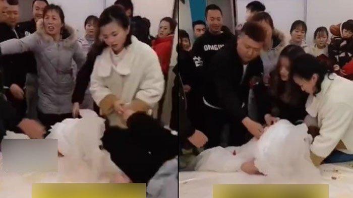 Pesta pernikahan ricuh sata pengantin wanita diserang tamu pria