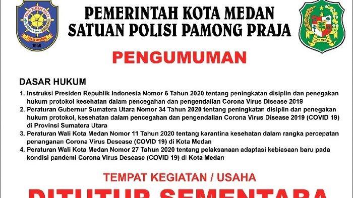 Satpol PP Kota Medan Siap Tindak Tegas Pelaku Usaha Pelanggar Protokol Kesehatan