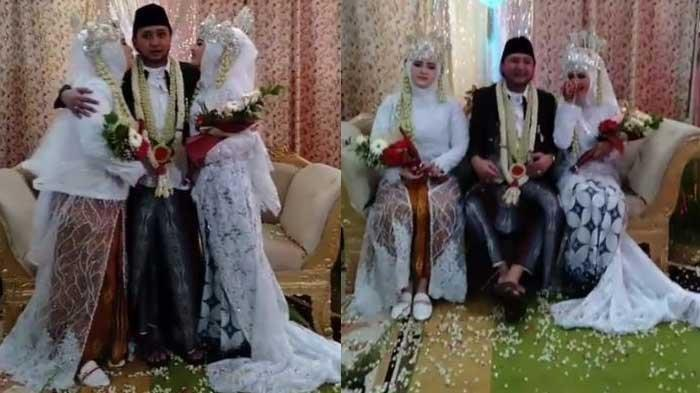 Istri pertama Ra Karror, Nyai Hj Qonita Ari Aghni (Neng Aan) (kanan) suami, sedangkan istri kedua berada di sebalah (kiri) sang suami.