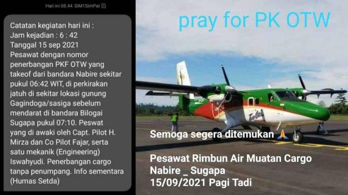 Pesawat Rimbun Air Hilang Kontak di Sugapa, Hape Pilot Masih tapi tak Diangkat saat Dihubungi