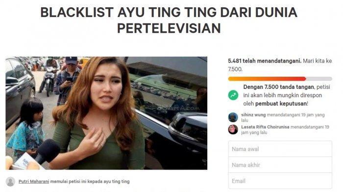 Tangkapan layar Petisi blacklist Ayu Ting Ting
