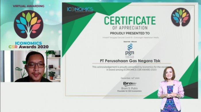 Tanggap Penanganan Covid-19, PGN Raih Penghargaan Iconomics CSR Awards 2020