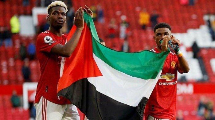 Pogba dan Diallo kibarkan bendera Palestina usai laga Man United vs Fulham