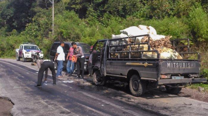 L-300 dan Panther Adu Kuat di Jalan Raya Lae Pondom Dairi, Sopir dan Penumpang Luka-luka