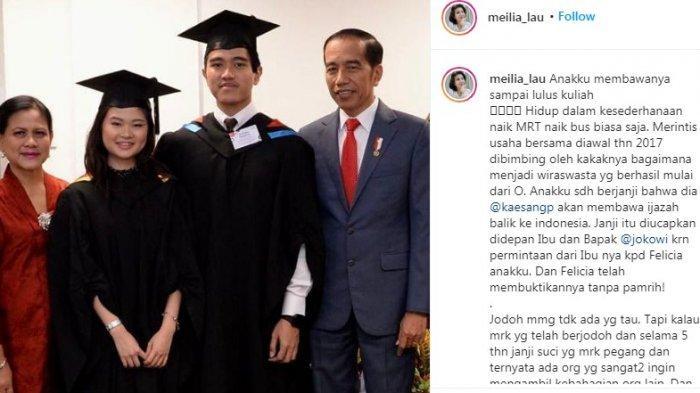 Postingan ibunda Felicia Tissue, Meilia Lau. (Instagram.com/@meilia_lau)