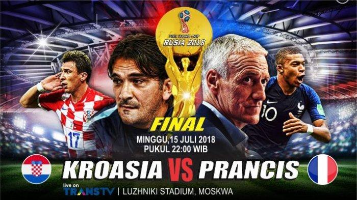 FINAL PRANCIS vs KROASIA, Juara I Dapat Rp 513 Miliar, Berikut Daftar Hadiah Tunai Piala Dunia 2018