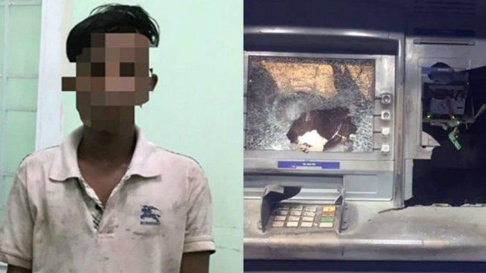 Kesal Tak Bisa Ambil Uang, Pria ini Hancurkan Mesin ATM Pakai Palu, Lalu Serahkan Diri ke Polisi