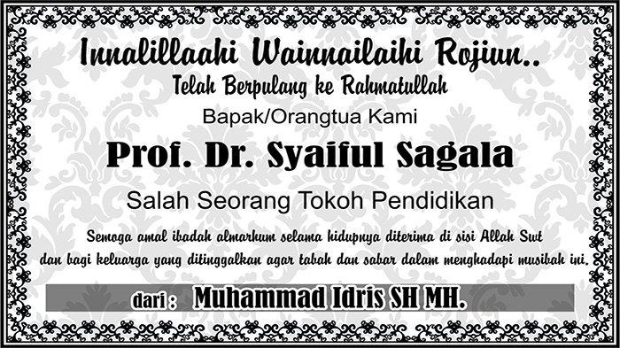 BERITA DUKACITA: Telah Berpulang ke Rahmatullah Prof Dr Syaiful Sagala