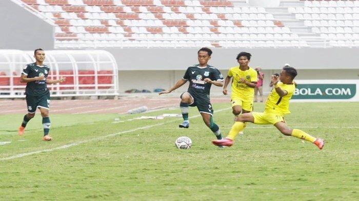 Tim PSMS Medan saat mengalahkan Muba Babel United 2-0 pada laga kedua Grup A Liga 2 di Stadion Gelora Sriwijaya Jakabaring Palembang, Senin (11/10/2021).