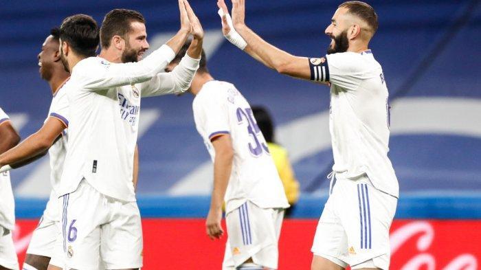 HASIL Liga Spanyol - Real Madrid Pesta Gol , Benzema Lewati Lionel Messi dan Cristiano Ronaldo
