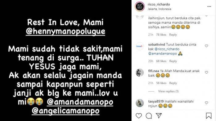 Rico Richardo sampaikan berita duka, ibu Amanda Manopo meninggal dunia