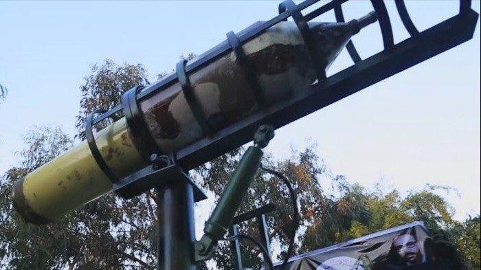 Bom berpendorong roket buatan kelompk Jihad Islam Palestina. Roket bom ini dipakai untuk menyerang pasukan Israel di Khan Yunis pada 15 Mei 2021.