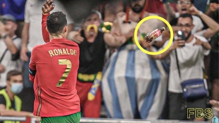 Cristiano Ronaldo kena lempar botol saat selebrasi gol dalam laga Portugal vs Prancis Euro 2020