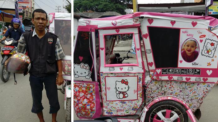 Demi Ultah Anak, Pria Ini Ubah Becaknya Jadi 'Hello Kitty'