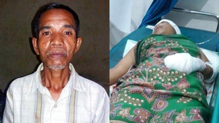 Sadis Cemburu Kakek, Istri Siri Dibacok Pakai Golok Membabi-buta, Korban Bersimbah Darah Jari Putus