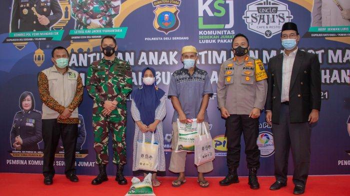 Sambut Ramadan, Polresta Deliserdang, KSJ dan Uncle Sam's Santuni Anak Yatim dan Marbot Masjid