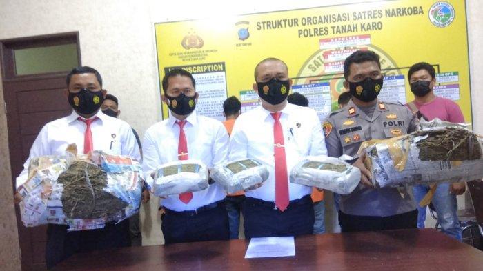 Polres Tanah Karo Ciduk Terduga Pengedar Narkoba Antar Provinsi, Temukan Barang Bukti Ganja 13 Kg