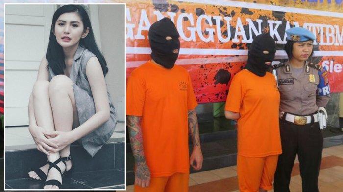 Selebgram Angela Lee (31) bersama dengan suaminya David Hardian (36) saat di Mapolres Sleman(KOMPAS.com / Wijaya Kusuma)