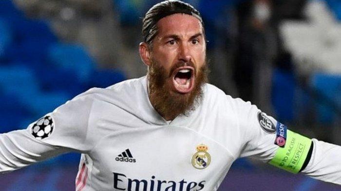 Sergio Ramos menempati golnya pada laga ketiga Grup B Liga Champions yang mempertemukan Real Madrid vs Inter Milan di Stadion Alfredo Di Stefano, Rabu (4/11/2020) dini hari WIB.